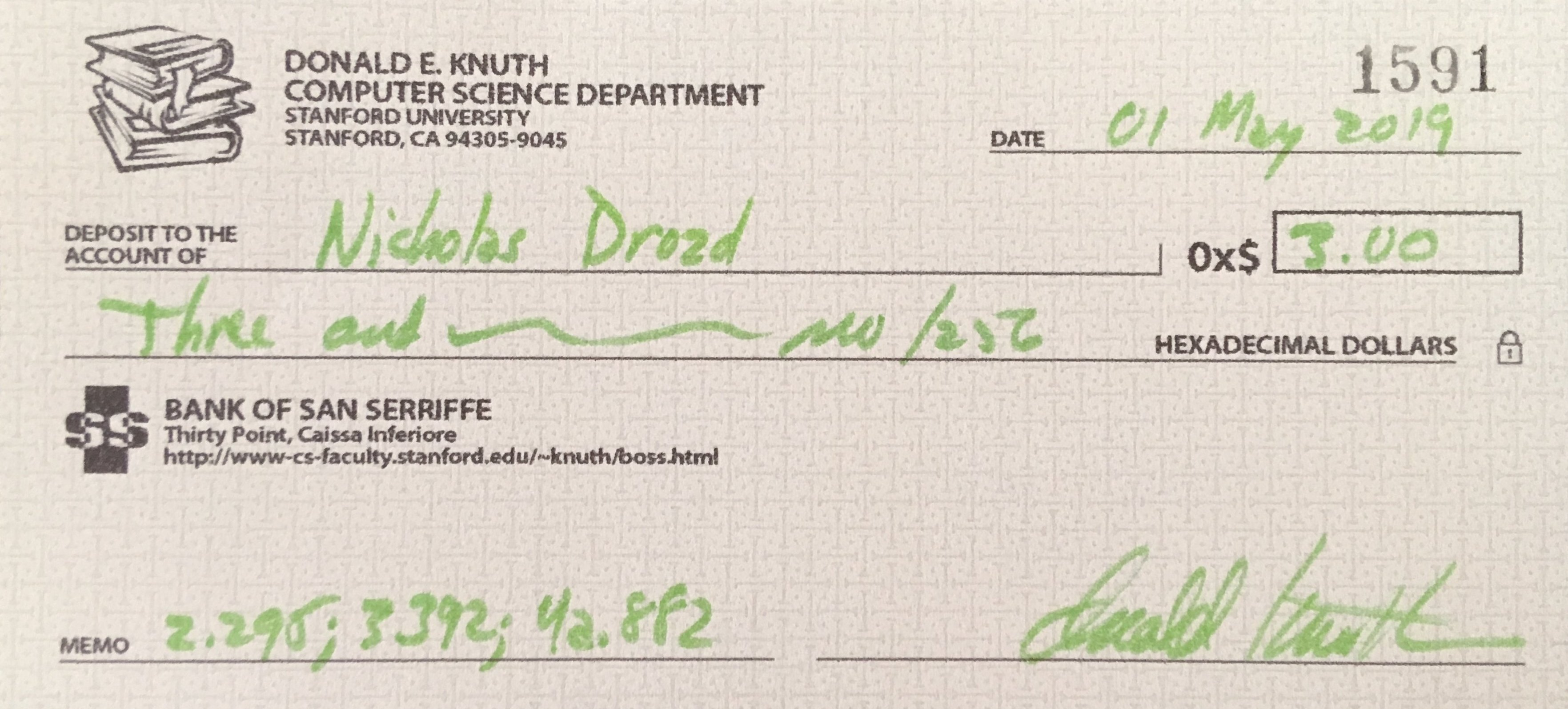 I Got a Knuth Check for 0x$3 00 | Something Something
